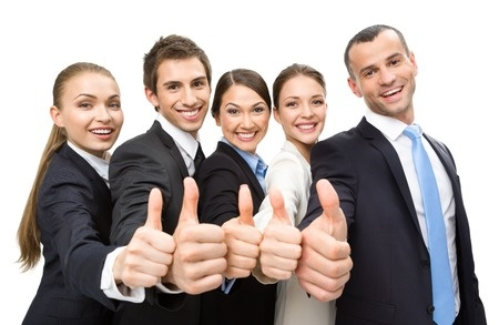 Group of Thumbing Up Business Page