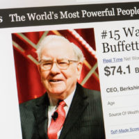 february 24, 2017: forbes magazine list of the worlds most powerful people.number 15 warren buffet the ceo of berkshire hathaway.