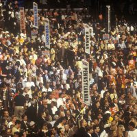 20802245 - state delegations and signs at the 2000 democratic convention at the staples center, los angeles, ca